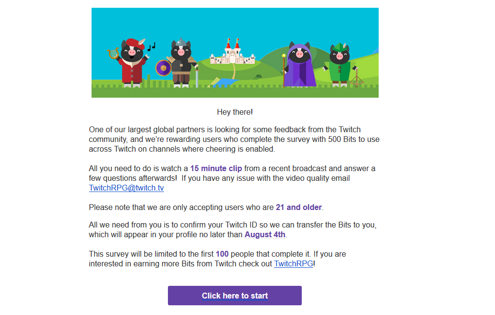 Twitch RPG email invitation